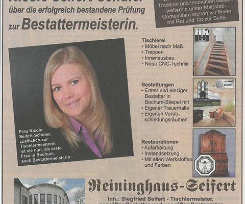 WAZ: Nicole Seifert-Schüler Bestattermeisterin