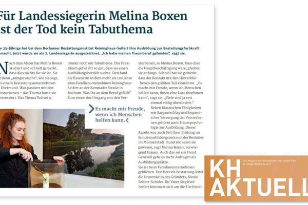 Ausbildung Bestattungsfachkraft Melina Boxen