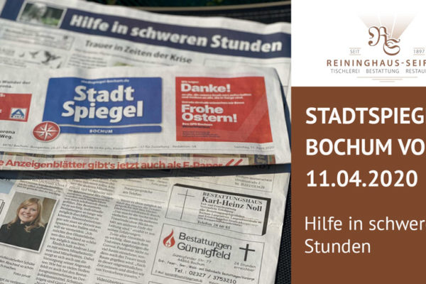 Stadtspiegel Bochum 11.04.20: Hilfe in schweren Stunden